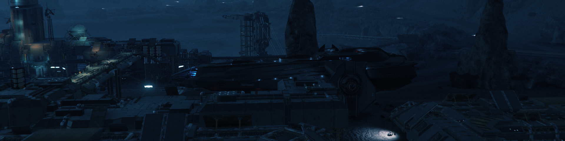 Portside view of a space frigate landed at a mining facility on a dark world.